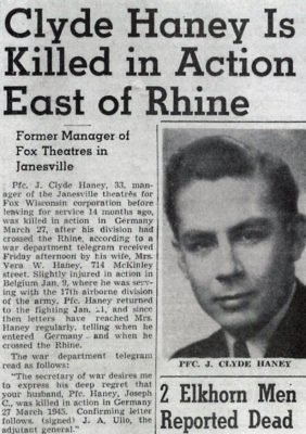 newspaper article of Private First Class Joseph Clyde Haney killed in action