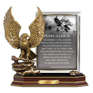Pearl Harbor Eagle Sculpture With FDR Quote On Glass Panel